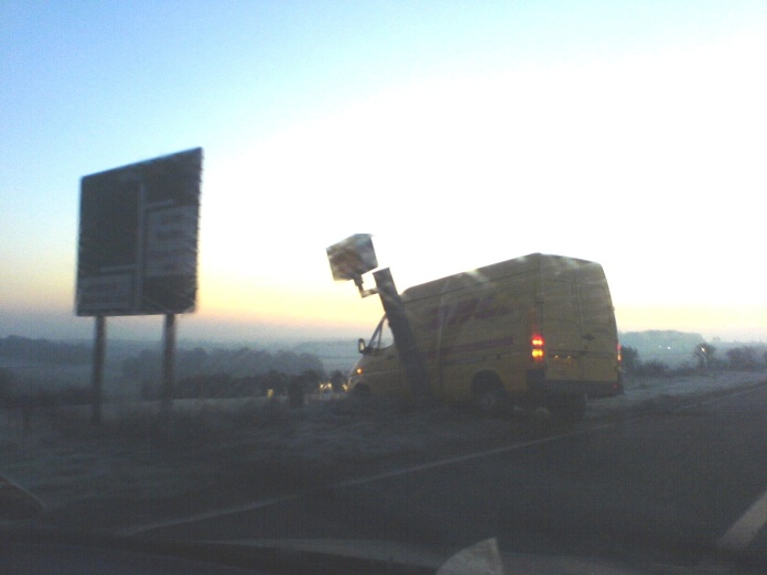 Van crashes into speed camera